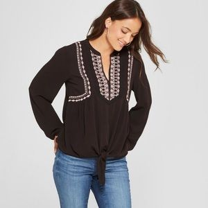 Knox Rose Long Sleeve Embroidered Tie Front Top